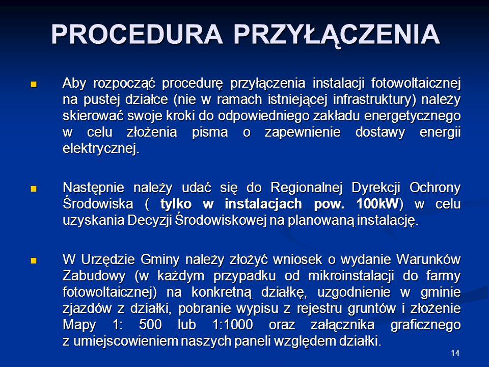 14 PROCEDURA PRZYŁĄCZENIA Aby rozpocząć procedurę przyłączenia instalacji fotowoltaicznej na pustej działce (nie w ramach istniejącej infrastruktury)