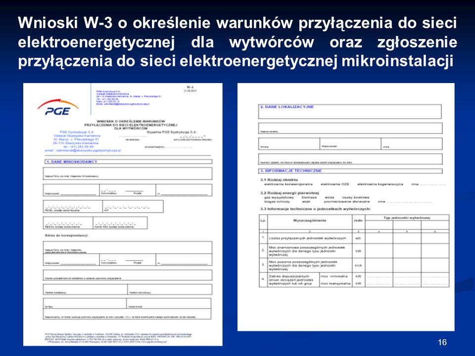 16 Wnioski W-3 o określenie warunków przyłączenia do sieci elektroenergetycznej dla wytwórców oraz zgłoszenie przyłączenia do sieci elektroenergetyczn