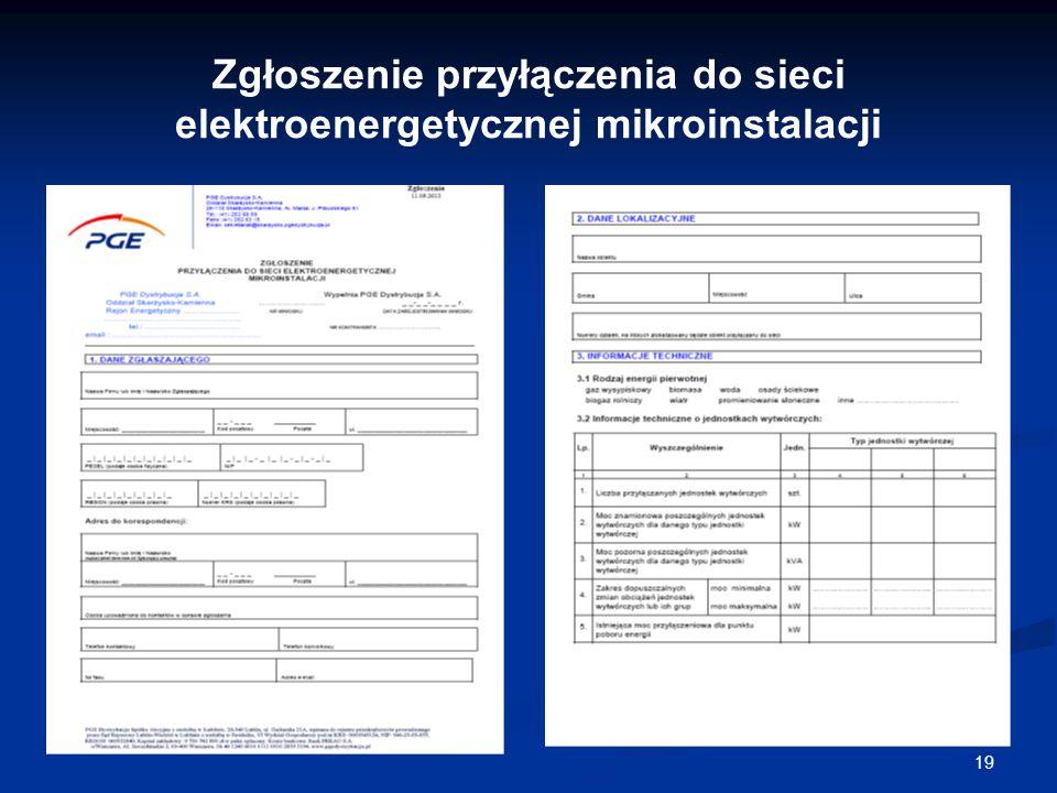 19 Zgłoszenie przyłączenia do sieci elektroenergetycznej mikroinstalacji