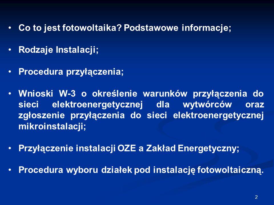 2 Co to jest fotowoltaika? Podstawowe informacje; Rodzaje Instalacji; Procedura przyłączenia; Wnioski W-3 o określenie warunków przyłączenia do sieci