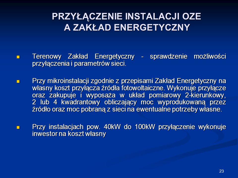 23 PRZYŁĄCZENIE INSTALACJI OZE A ZAKŁAD ENERGETYCZNY PRZYŁĄCZENIE INSTALACJI OZE A ZAKŁAD ENERGETYCZNY Terenowy Zakład Energetyczny - sprawdzenie możl