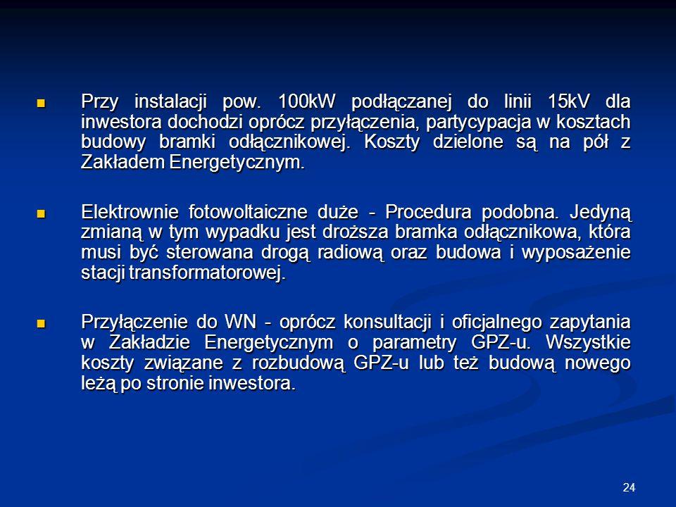 24 Przy instalacji pow. 100kW podłączanej do linii 15kV dla inwestora dochodzi oprócz przyłączenia, partycypacja w kosztach budowy bramki odłącznikowe