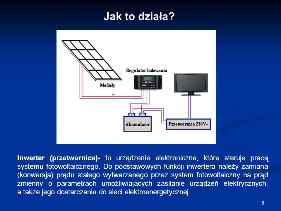 6 Inwerter (przetwornica)- to urządzenie elektroniczne, które steruje pracą systemu fotowoltaicznego. Do podstawowych funkcji inwertera należy zamiana