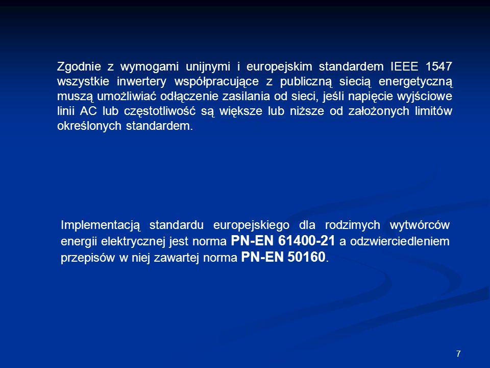 7 Zgodnie z wymogami unijnymi i europejskim standardem IEEE 1547 wszystkie inwertery współpracujące z publiczną siecią energetyczną muszą umożliwiać o