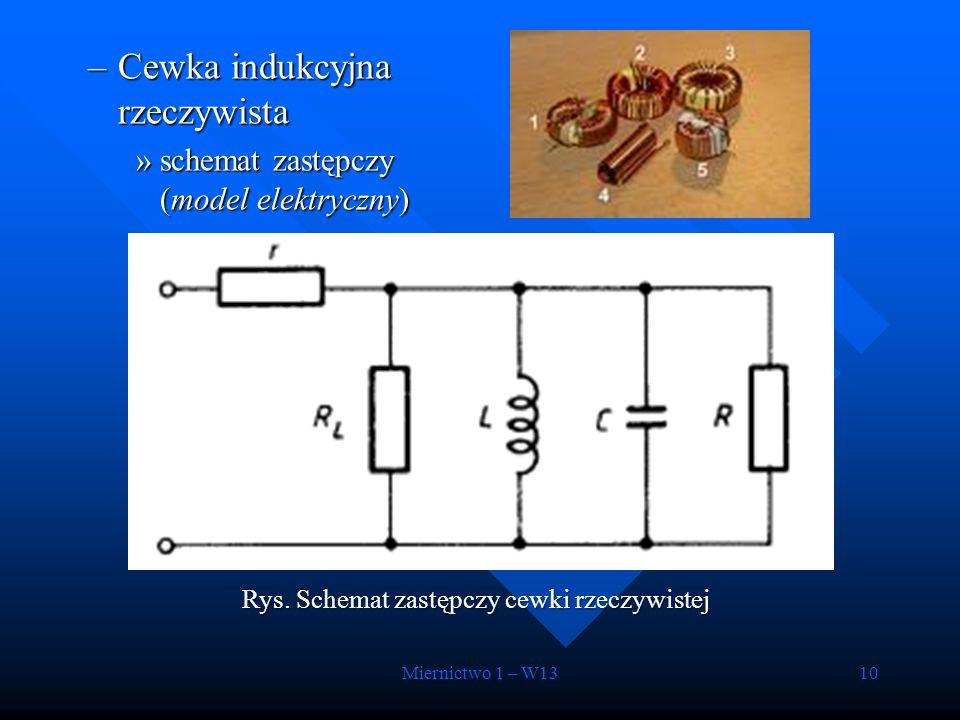 Miernictwo 1 – W1310 –Cewka indukcyjna rzeczywista »schemat zastępczy (model elektryczny) Rys. Schemat zastępczy cewki rzeczywistej