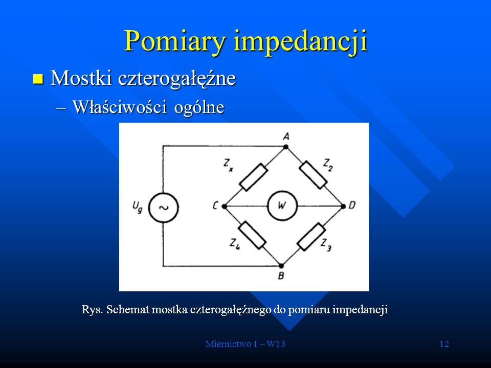Miernictwo 1 – W1312 Mostki czterogałęźne Mostki czterogałęźne –Właściwości ogólne Pomiary impedancji Rys. Schemat mostka czterogałęźnego do pomiaru i