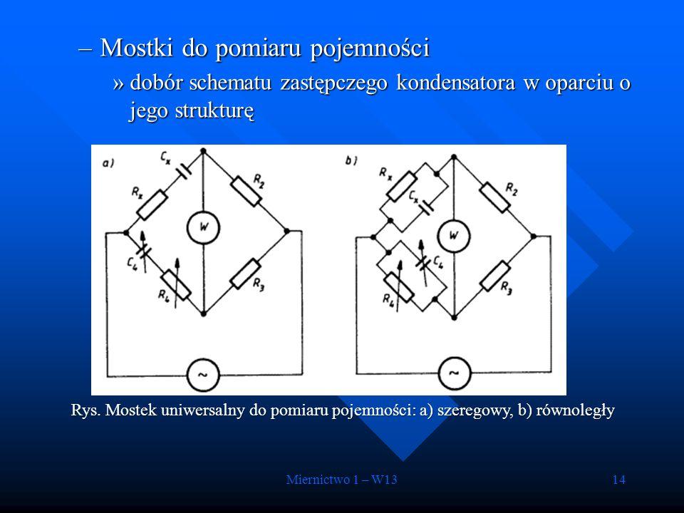 Miernictwo 1 – W1314 –Mostki do pomiaru pojemności »dobór schematu zastępczego kondensatora w oparciu o jego strukturę Rys. Mostek uniwersalny do pomi