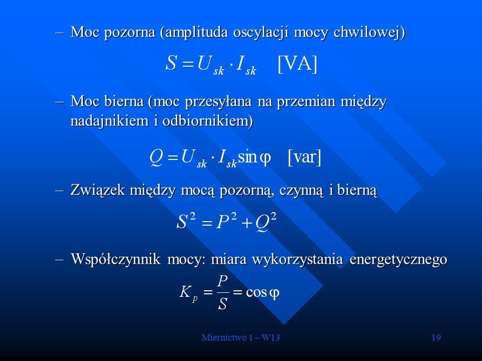 Miernictwo 1 – W1319 –Moc pozorna (amplituda oscylacji mocy chwilowej) –Moc bierna (moc przesyłana na przemian między nadajnikiem i odbiornikiem) –Zwi