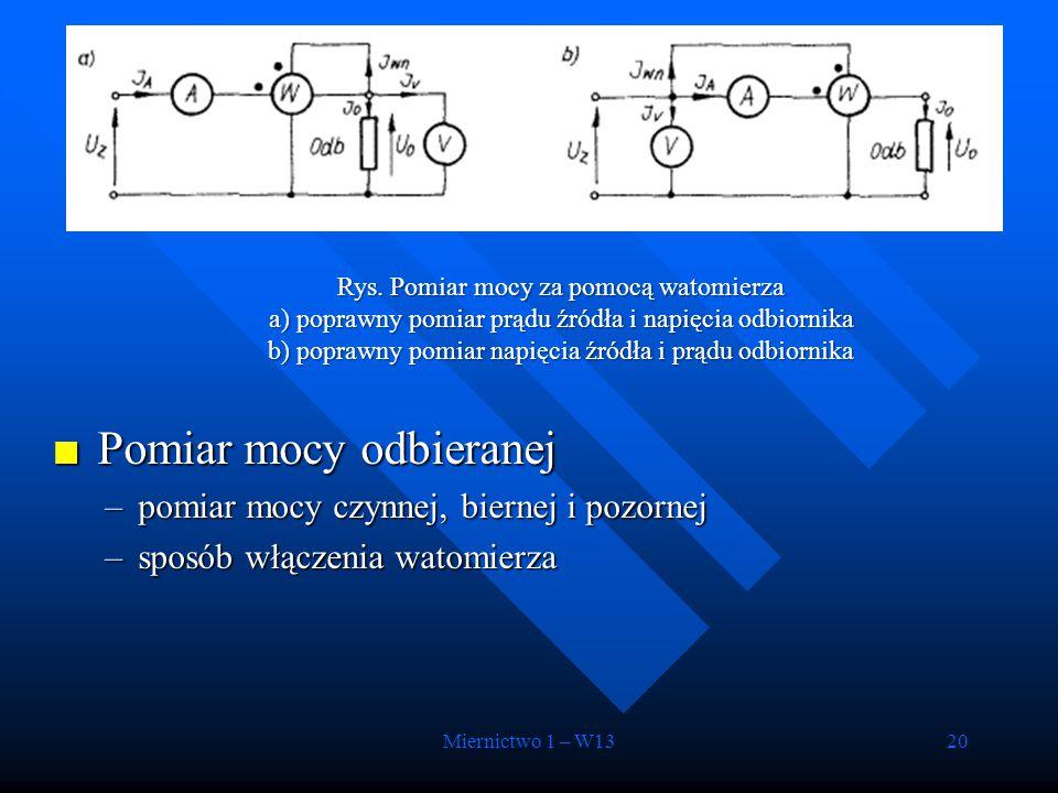 Miernictwo 1 – W1320 Rys. Pomiar mocy za pomocą watomierza a) poprawny pomiar prądu źródła i napięcia odbiornika b) poprawny pomiar napięcia źródła i