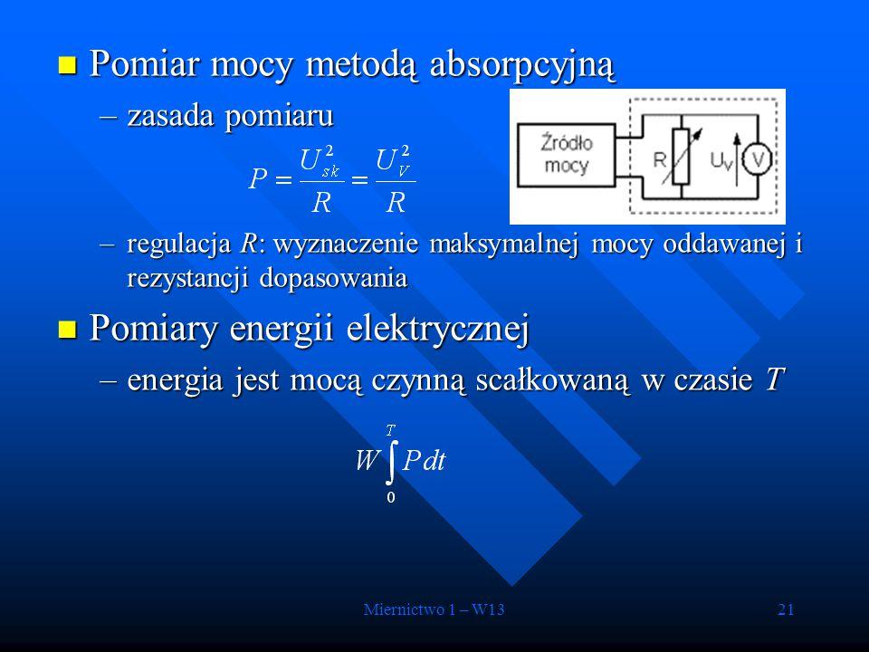 Miernictwo 1 – W1321 Pomiar mocy metodą absorpcyjną Pomiar mocy metodą absorpcyjną –zasada pomiaru –regulacja R: wyznaczenie maksymalnej mocy oddawane