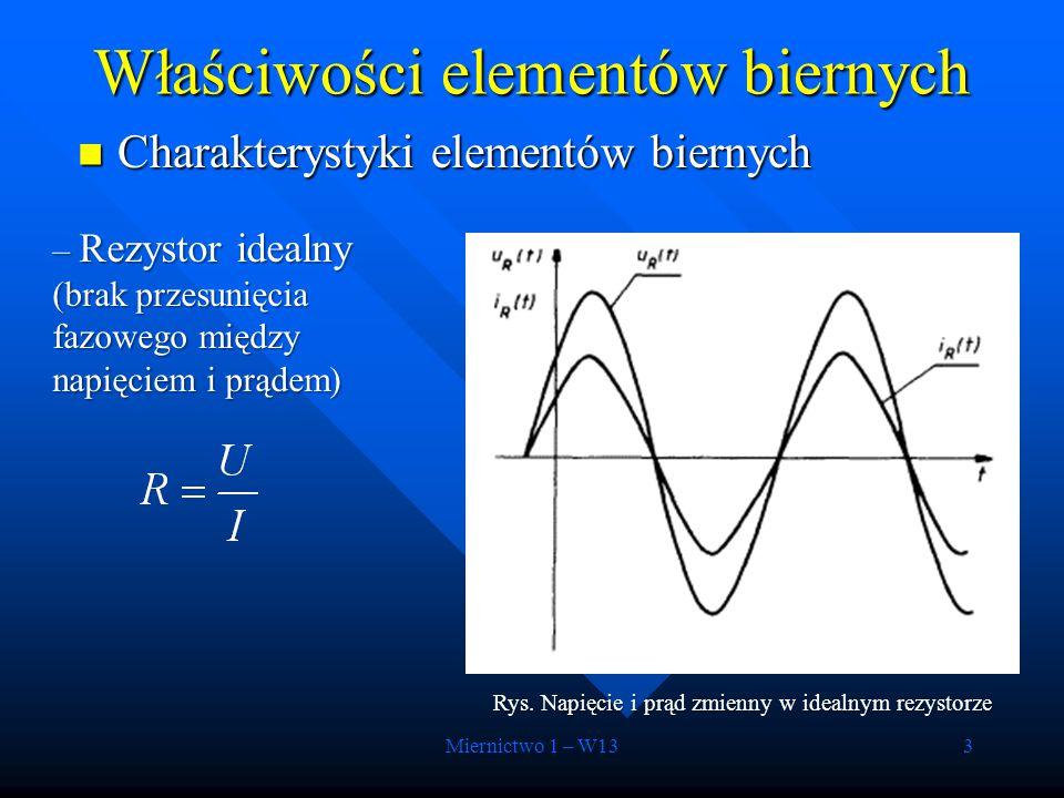 Miernictwo 1 – W133 Charakterystyki elementów biernych Charakterystyki elementów biernych Właściwości elementów biernych – Rezystor idealny (brak prze