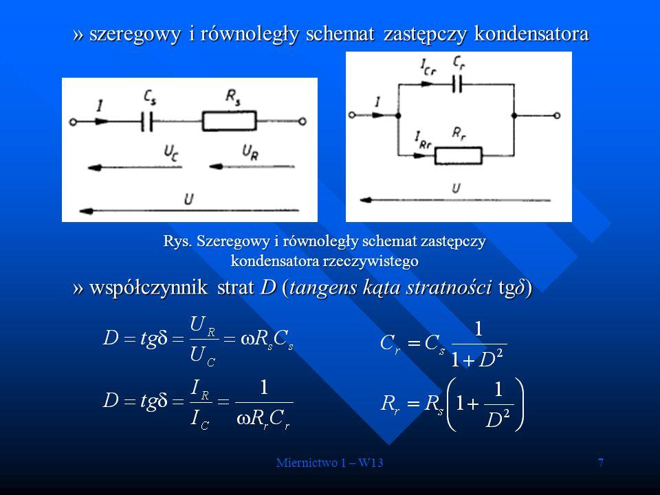 Miernictwo 1 – W137 »szeregowy i równoległy schemat zastępczy kondensatora »współczynnik strat D (tangens kąta stratności tgδ) Rys. Szeregowy i równol