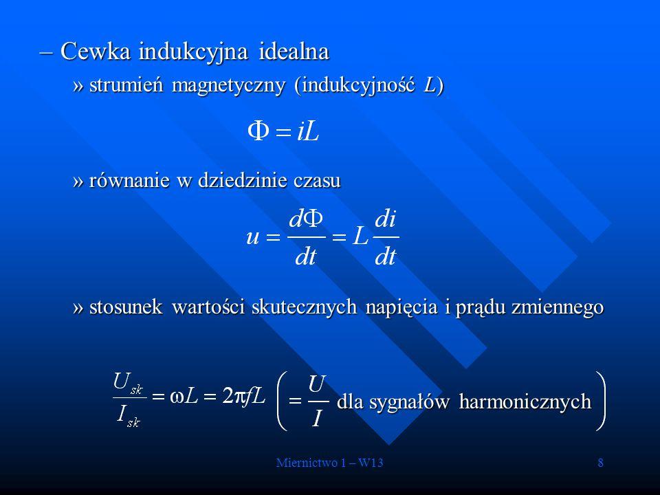 Miernictwo 1 – W138 –Cewka indukcyjna idealna »strumień magnetyczny (indukcyjność L) »równanie w dziedzinie czasu »stosunek wartości skutecznych napię