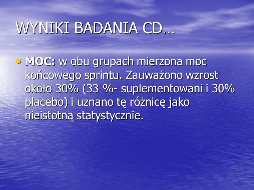 WYNIKI BADANIA CD… MOC: w obu grupach mierzona moc końcowego sprintu. Zauważono wzrost około 30% (33 %- suplementowani i 30% placebo) i uznano tę różn