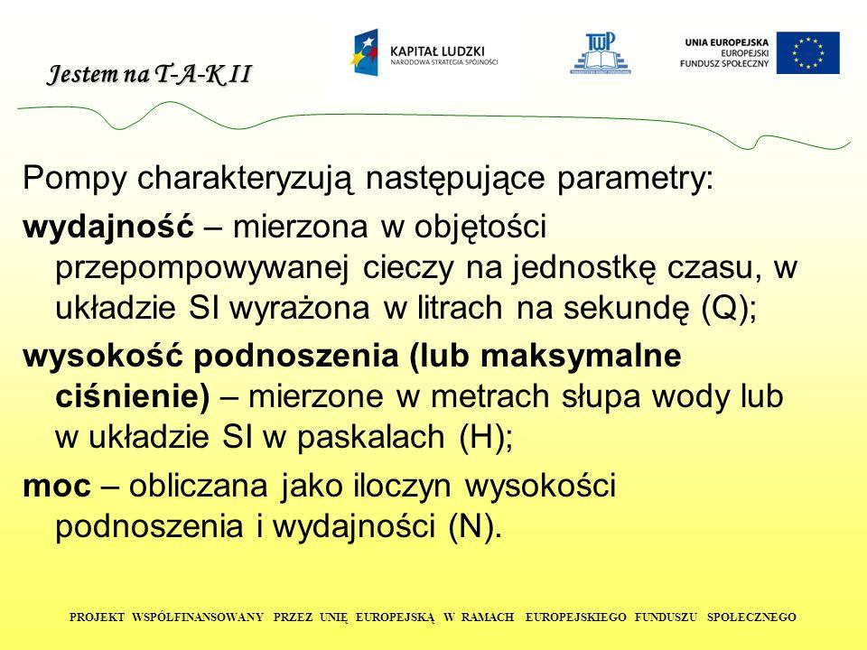 Jestem na T-A-K II PROJEKT WSPÓŁFINANSOWANY PRZEZ UNIĘ EUROPEJSKĄ W RAMACH EUROPEJSKIEGO FUNDUSZU SPOŁECZNEGO Pompy charakteryzują następujące paramet