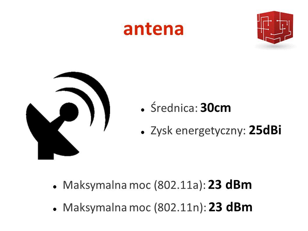 antena Średnica: 30cm Zysk energetyczny: 25dBi Maksymalna moc (802.11a): 23 dBm Maksymalna moc (802.11n): 23 dBm
