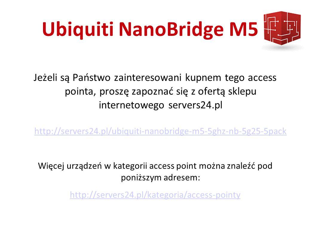 Ubiquiti NanoBridge M5 Jeżeli są Państwo zainteresowani kupnem tego access pointa, proszę zapoznać się z ofertą sklepu internetowego servers24.pl http://servers24.pl/ubiquiti-nanobridge-m5-5ghz-nb-5g25-5pack http://servers24.pl/ubiquiti-nanobridge-m5-5ghz-nb-5g25-5pack Więcej urządzeń w kategorii access point można znaleźć pod poniższym adresem: http://servers24.pl/kategoria/access-pointy