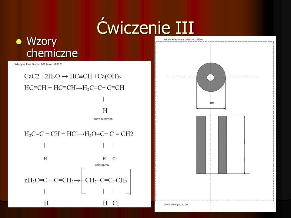 Ćwiczenie III Wzory chemiczne Wzory chemiczne