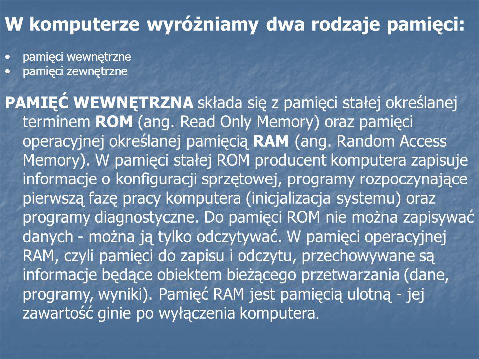 W komputerze wyróżniamy dwa rodzaje pamięci: pamięci wewnętrzne pamięci zewnętrzne PAMIĘĆ WEWNĘTRZNA składa się z pamięci stałej określanej terminem R