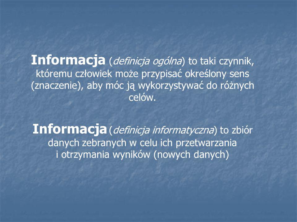 Informacja (definicja ogólna) to taki czynnik, któremu człowiek może przypisać określony sens (znaczenie), aby móc ją wykorzystywać do różnych celów.
