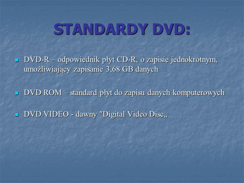 STANDARDY DVD: DVD-R – odpowiednik płyt CD-R, o zapisie jednokrotnym, umożliwiający zapisanie 3,68 GB danych DVD-R – odpowiednik płyt CD-R, o zapisie