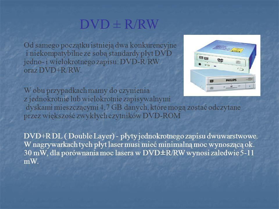 Od samego początku istnieją dwa konkurencyjne i niekompatybilne ze sobą standardy płyt DVD jedno- i wielokrotnego zapisu: DVD-R/RW oraz DVD+R/RW. W ob