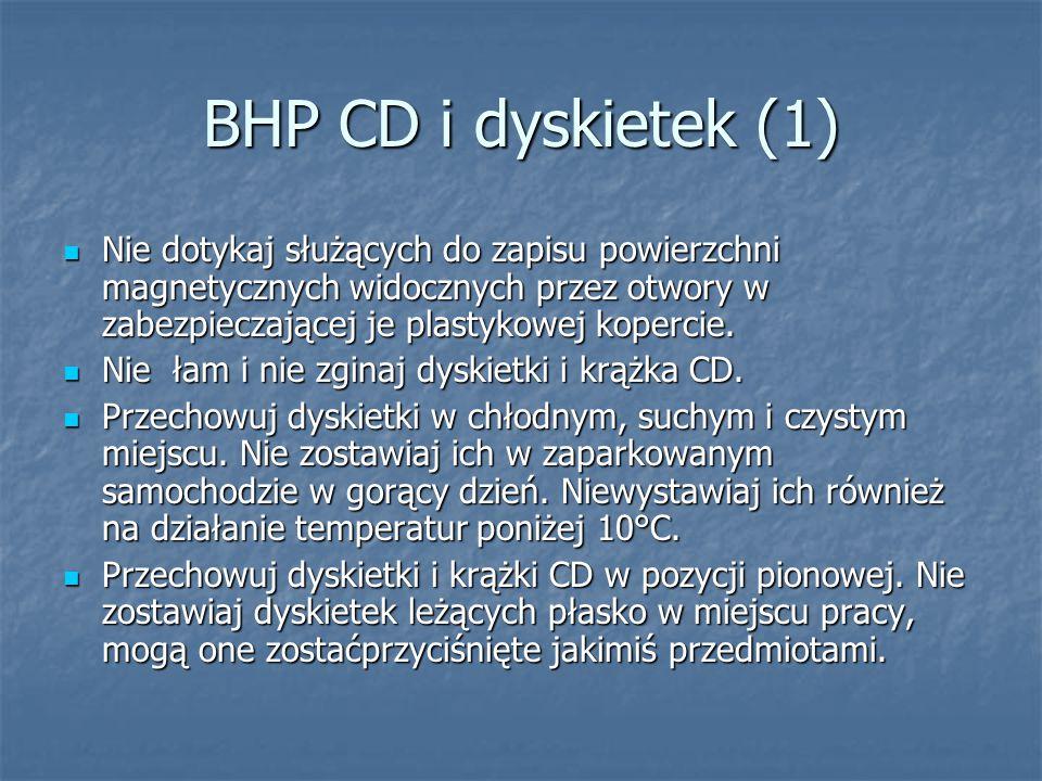 BHP CD i dyskietek (1) Nie dotykaj służących do zapisu powierzchni magnetycznych widocznych przez otwory w zabezpieczającej je plastykowej kopercie. N