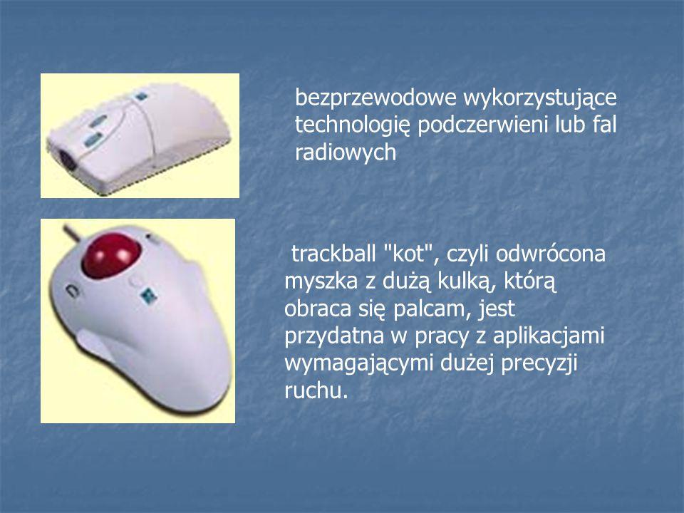 bezprzewodowe wykorzystujące technologię podczerwieni lub fal radiowych trackball