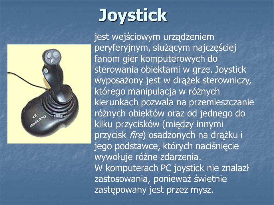 Joystick jest wejściowym urządzeniem peryferyjnym, służącym najczęściej fanom gier komputerowych do sterowania obiektami w grze. Joystick wyposażony j