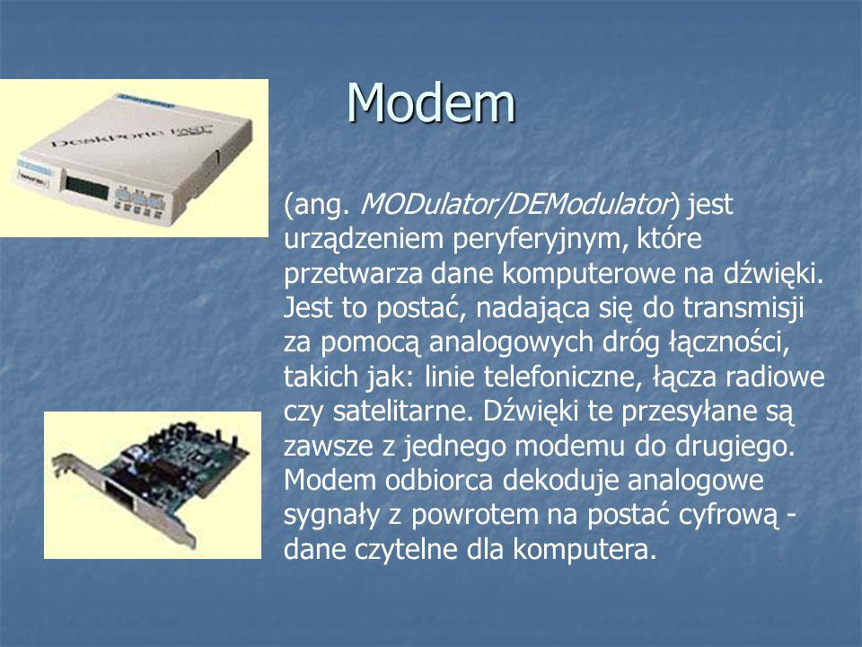 (ang. MODulator/DEModulator) jest urządzeniem peryferyjnym, które przetwarza dane komputerowe na dźwięki. Jest to postać, nadająca się do transmisji z