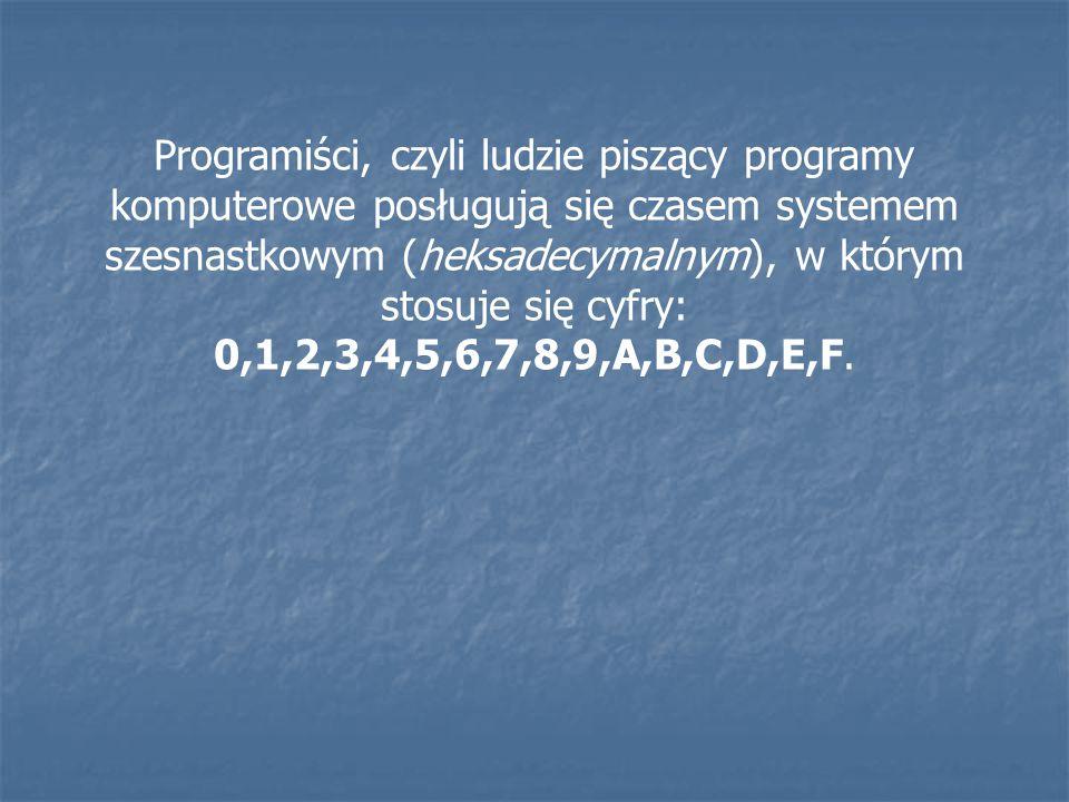 Programiści, czyli ludzie piszący programy komputerowe posługują się czasem systemem szesnastkowym (heksadecymalnym), w którym stosuje się cyfry: 0,1,