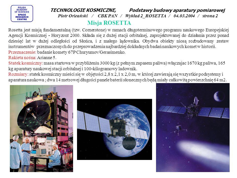 TECHNOLOGIE KOSMICZNE Podstawy budowy aparatury pomiarowej Piotr Orleański / CBK PAN Wykład 2_ROSETTA 04.03.2004 / strona 1 Misja ROSETTA