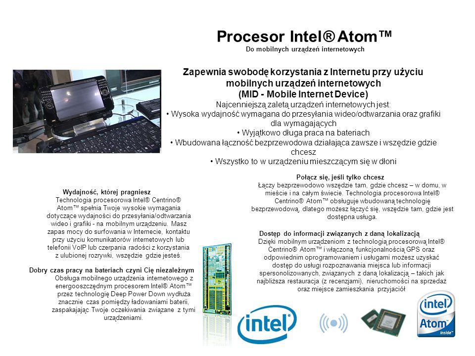 Procesor Intel® Atom™ Do mobilnych urządzeń internetowych Wydajność, której pragniesz Technologia procesorowa Intel® Centrino® Atom™ spełnia Twoje wys
