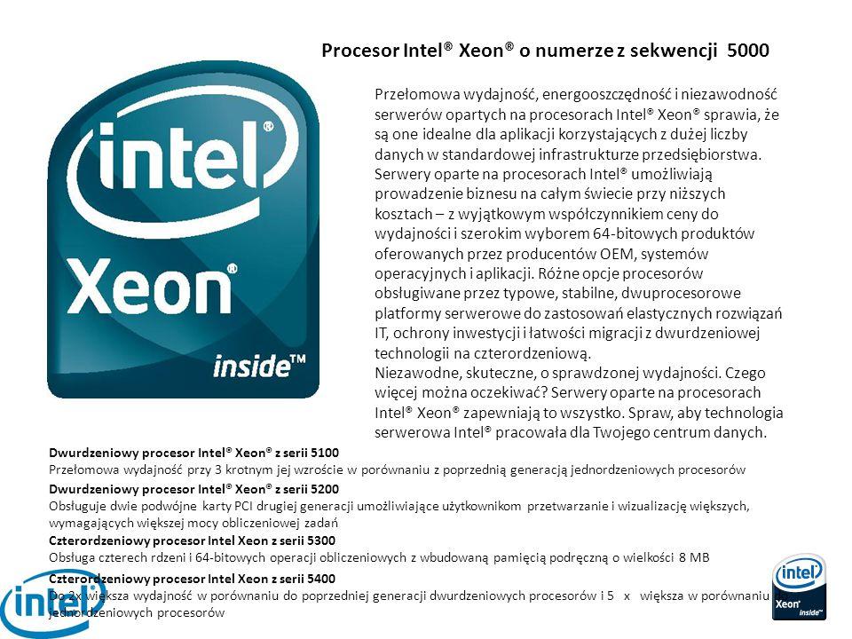 Procesor Intel® Xeon® o numerze z sekwencji 5000 Przełomowa wydajność, energooszczędność i niezawodność serwerów opartych na procesorach Intel® Xeon®