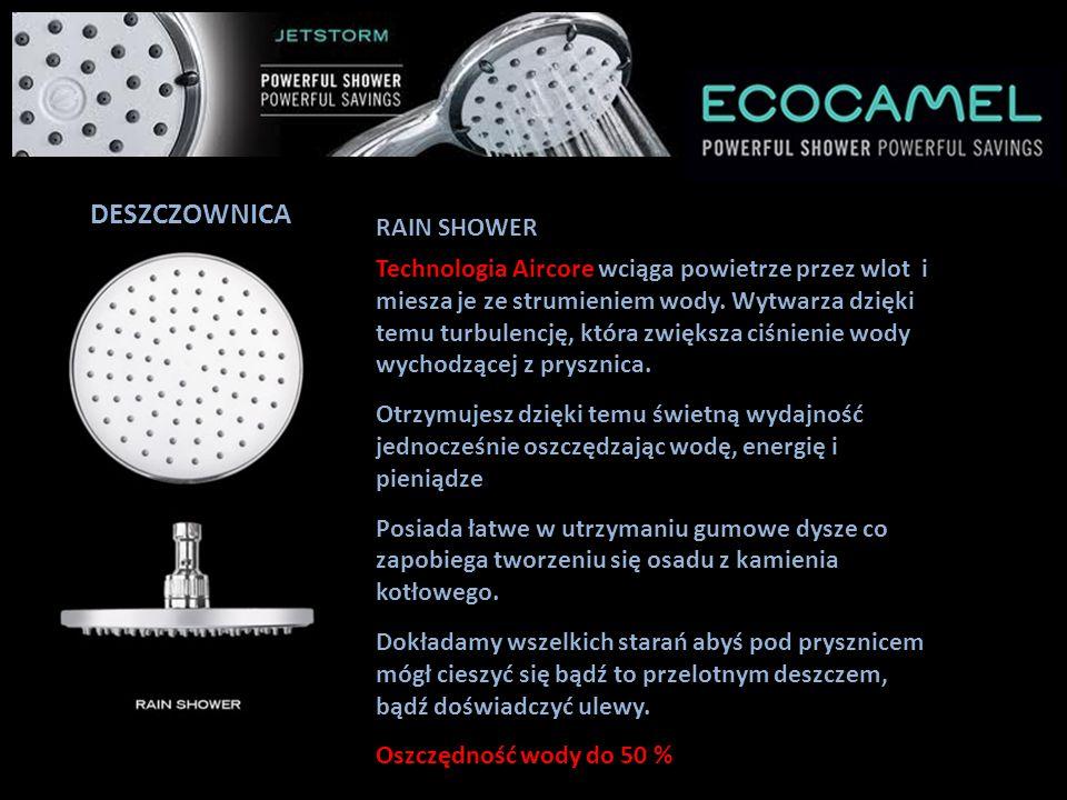 DESZCZOWNICA JETSTORM FIXED HEAD jest najnowocześniejszą i najbardziej zaawansowaną słuchawką prysznicową spośród wszystkich produktów Ecocamel.