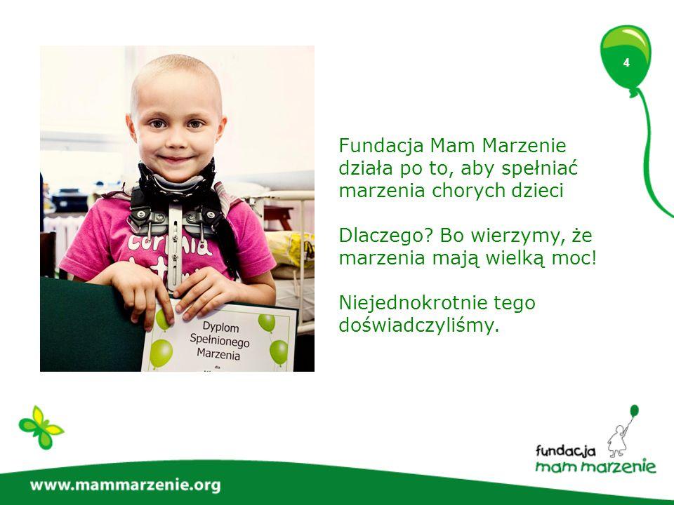 4 Fundacja Mam Marzenie działa po to, aby spełniać marzenia chorych dzieci Dlaczego? Bo wierzymy, że marzenia mają wielką moc! Niejednokrotnie tego do