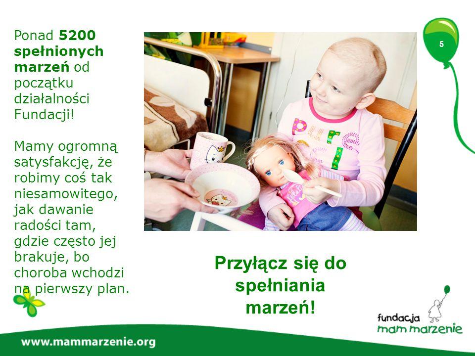 5 Ponad 5200 spełnionych marzeń od początku działalności Fundacji.