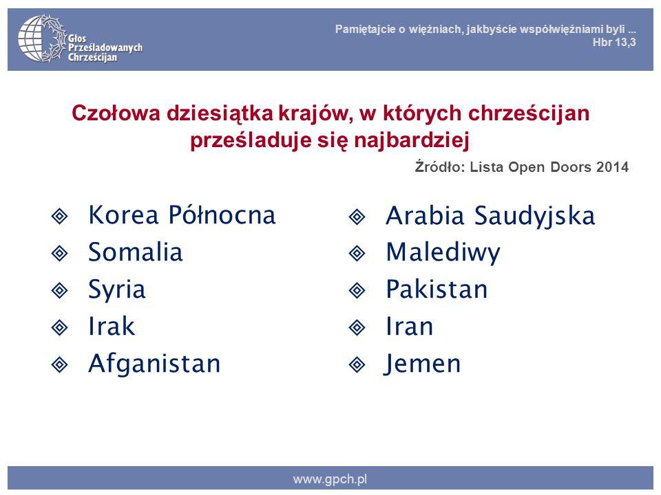Pamiętajcie o więźniach, jakbyście współwięźniami byli... Hbr 13,3 www.gpch.pl Czołowa dziesiątka krajów, w których chrześcijan prześladuje się najbar