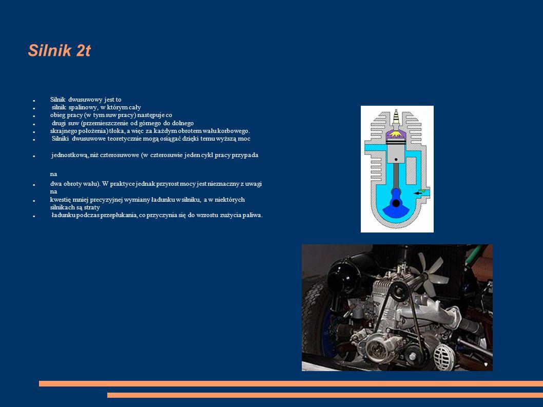 Silnik 2t Silnik dwusuwowy jest to silnik spalinowy, w którym cały obieg pracy (w tym suw pracy) następuje co drugi suw (przemieszczenie od górnego do