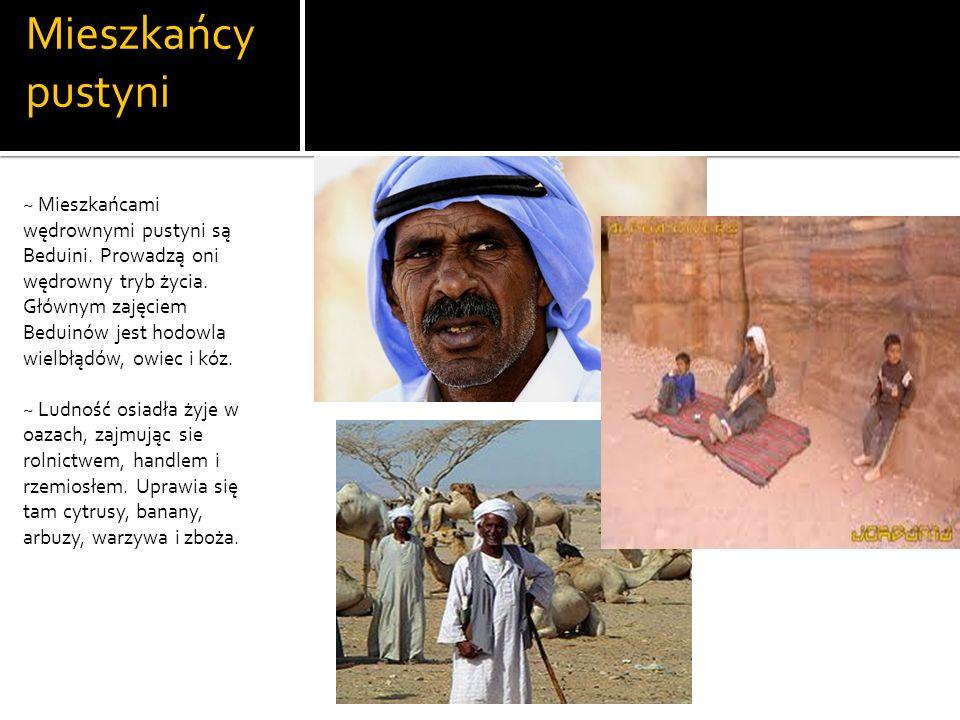 Mieszkańcy pustyni ~ Mieszkańcami wędrownymi pustyni są Beduini.