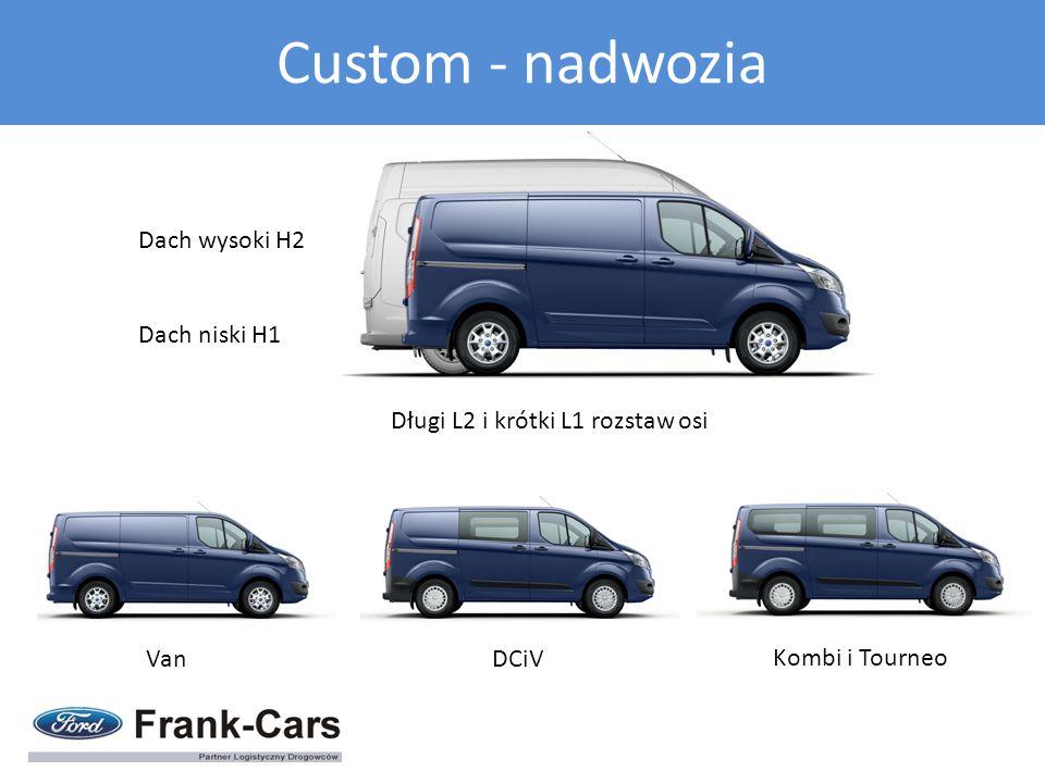 Długi L2 i krótki L1 rozstaw osi Dach wysoki H2 Dach niski H1 VanDCiV Kombi i Tourneo Custom - nadwozia