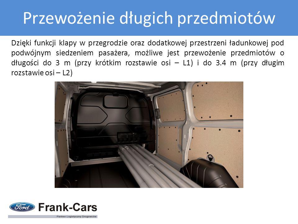 Dzięki funkcji klapy w przegrodzie oraz dodatkowej przestrzeni ładunkowej pod podwójnym siedzeniem pasażera, możliwe jest przewożenie przedmiotów o dł