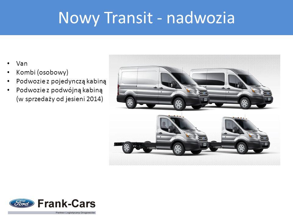Van Kombi (osobowy) Podwozie z pojedynczą kabiną Podwozie z podwójną kabiną (w sprzedaży od jesieni 2014) Nowy Transit - nadwozia