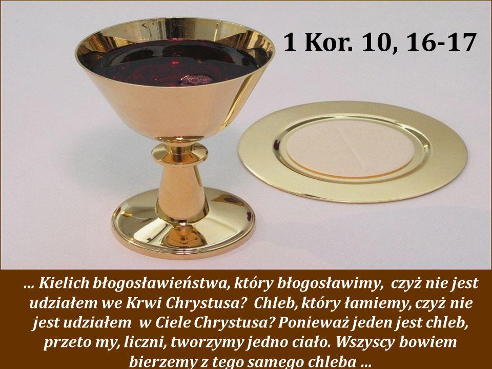 … Kielich błogosławieństwa, który błogosławimy, czyż nie jest udziałem we Krwi Chrystusa? Chleb, który łamiemy, czyż nie jest udziałem w Ciele Chrystu
