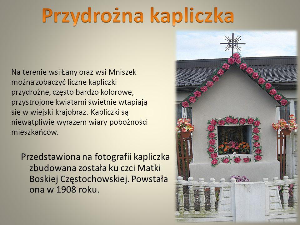 Przedstawiona na fotografii kapliczka zbudowana została ku czci Matki Boskiej Częstochowskiej.