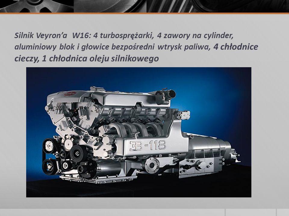 Silnik Veyron'a W16: 4 turbosprężarki, 4 zawory na cylinder, aluminiowy blok i głowice bezpośredni wtrysk paliwa, 4 chłodnice cieczy, 1 chłodnica olej