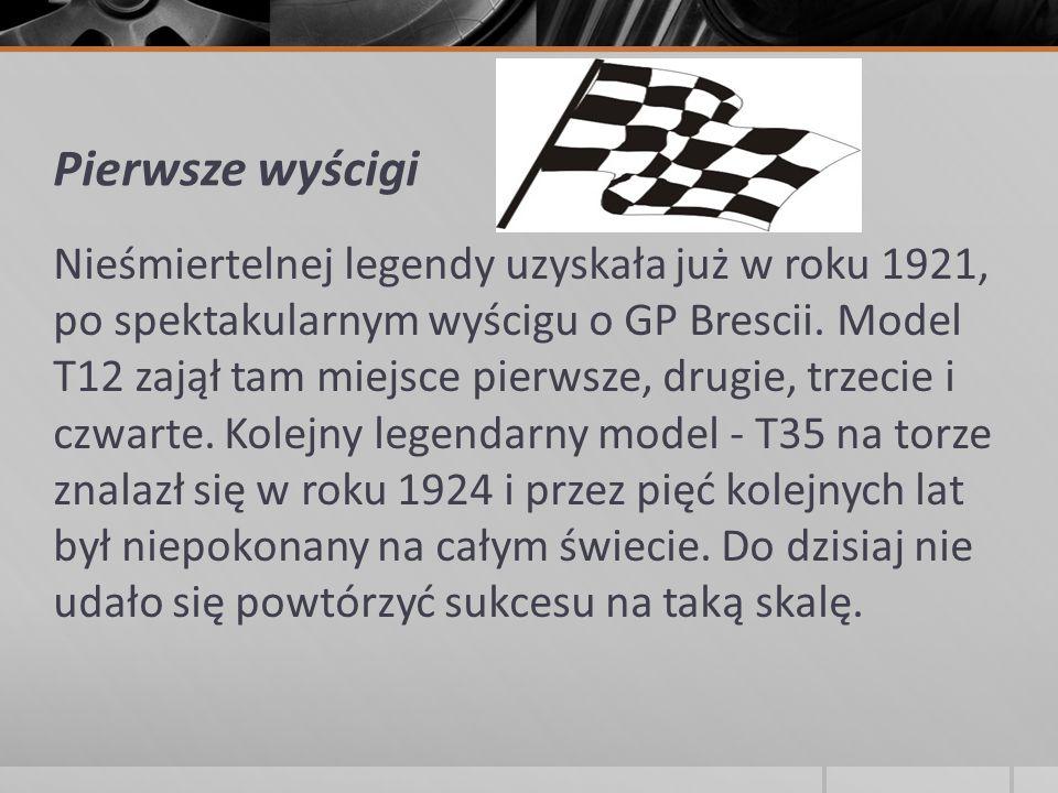 Pierwsze wyścigi Nieśmiertelnej legendy uzyskała już w roku 1921, po spektakularnym wyścigu o GP Brescii. Model T12 zajął tam miejsce pierwsze, drugie