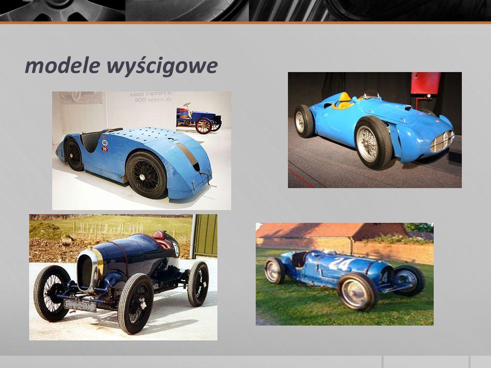 Modele drogowe 1912-1914 Bugatti Type 18 Garros 1913-1914 Bugatti Type 23/Type 23 Brescia Tourer 1922-1934 Bugatti Type 30/Type 38/Type 40/Type 43/Type 44/Type 49 1927-1933 Bugatti Royale 1929-1939 Bugatti Type 46/Type 50/Type 50T 1932-1935 Bugatti Type 55 1934-1940 Bugatti Type 57/Type 57S/Type 57SC 1951-1956 Bugatti Type 101 1991-1995 Bugatti EB110 2005- Bugatti Veyron 2010- Bugatti Veyron SuperSport 2010- Bugatti Veyron GrandSport