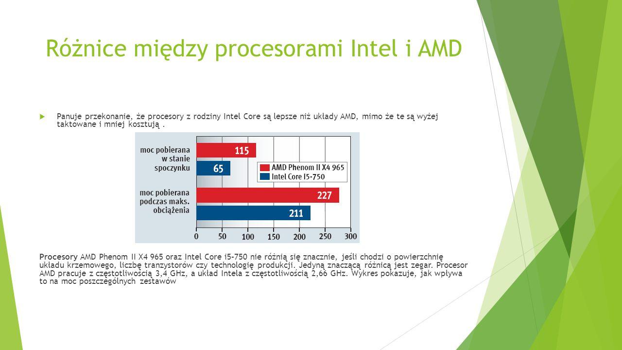 Różnice między procesorami Intel i AMD  Panuje przekonanie, że procesory z rodziny Intel Core są lepsze niż układy AMD, mimo że te są wyżej taktowane