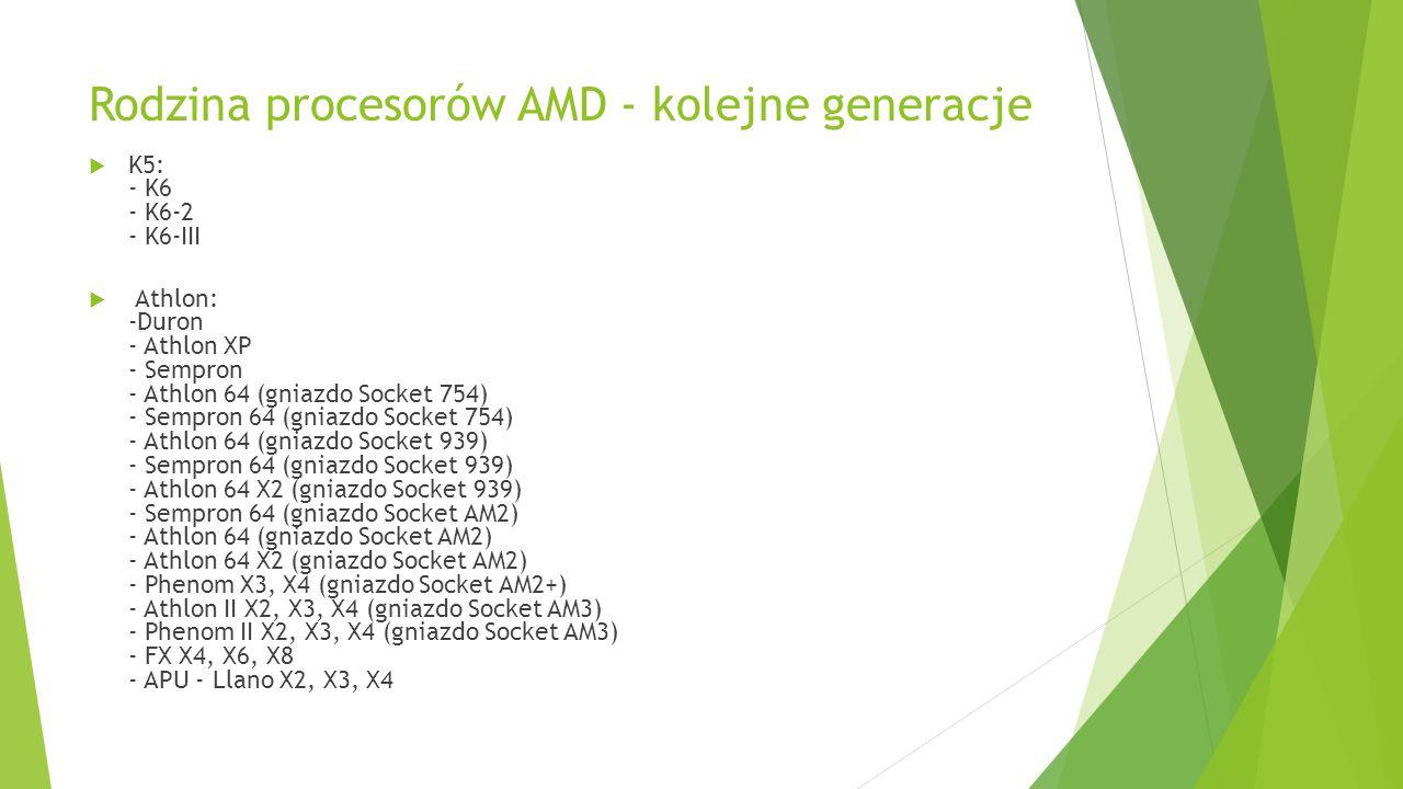 Rodzina procesorów AMD - kolejne generacje  K5: - K6 - K6-2 - K6-III  Athlon: -Duron - Athlon XP - Sempron - Athlon 64 (gniazdo Socket 754) - Sempro